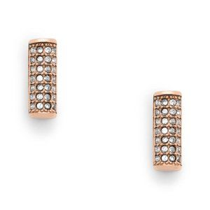 Fossil Rose Gold Pave Bar Stud Earrings NWT